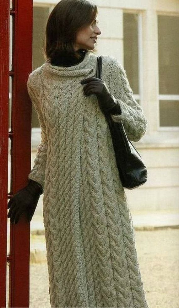 MADE TO ORDER MODEL Womens Hand Knit Long Coat. Any Size and Any Color. ============================================= - MANY YEARS of KNITTING