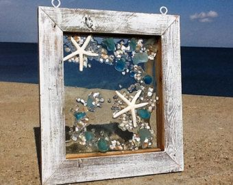 11 X 12 Mermaid in a wave of deep blue beach glass accented with shells and sand. Swimming towards the left