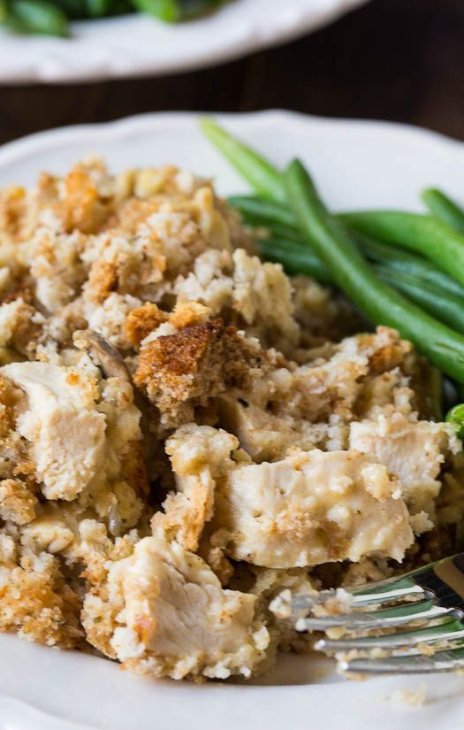 Chicken and Stuffing Casserole _ with chunks of white chicken meat & a creamy stuffing mix with onions, celery, & mushrooms makes perfect fall comfort food & is just the meal to serve when you can't wait for that Thanksgiving meal _ Spicy Southern Kitchen: