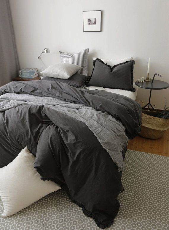 Stone Washed Black Duvet Cover Set with Ruffles by MyHomeStylist