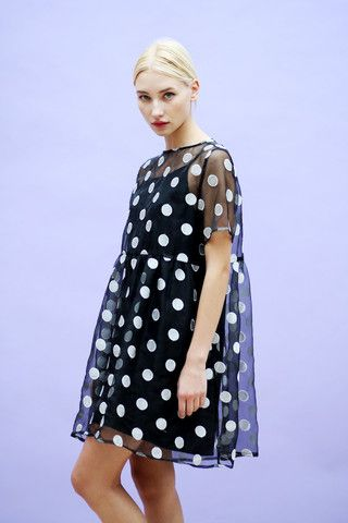 Organza Embroidered Polka Smock Dress Black - THE WHITEPEPPER