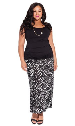 Fashion Bug Womens Plus Size Delray Maxi Skirt in Abtruse Dot. www.fashionbug.us #curvy #plussize #FashionBug