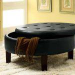 Soft Round Storage Ottoman In Black Color