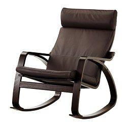 "POÄNG rocking chair, black-brown, Glose Robust dark brown Width: 26 3/4 "" Depth: 37 "" Height: 37 3/8 "" Width: 68 cm Depth: 94 cm Height: 95 cm"