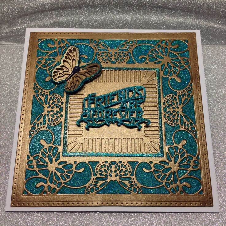 Sue Wilson Butterfly frame card cut out of bright copper foundations card. Tonic Studios sentiment and Nuvo glitter turquoise