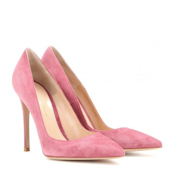 Gianvito Rossi Suede Pumps (6 915 ZAR) ❤ liked on Polyvore featuring shoes, pumps, heels, chaussures, gianvito rossi, pink, suede leather shoes, heels & pumps, pink shoes and suede shoes