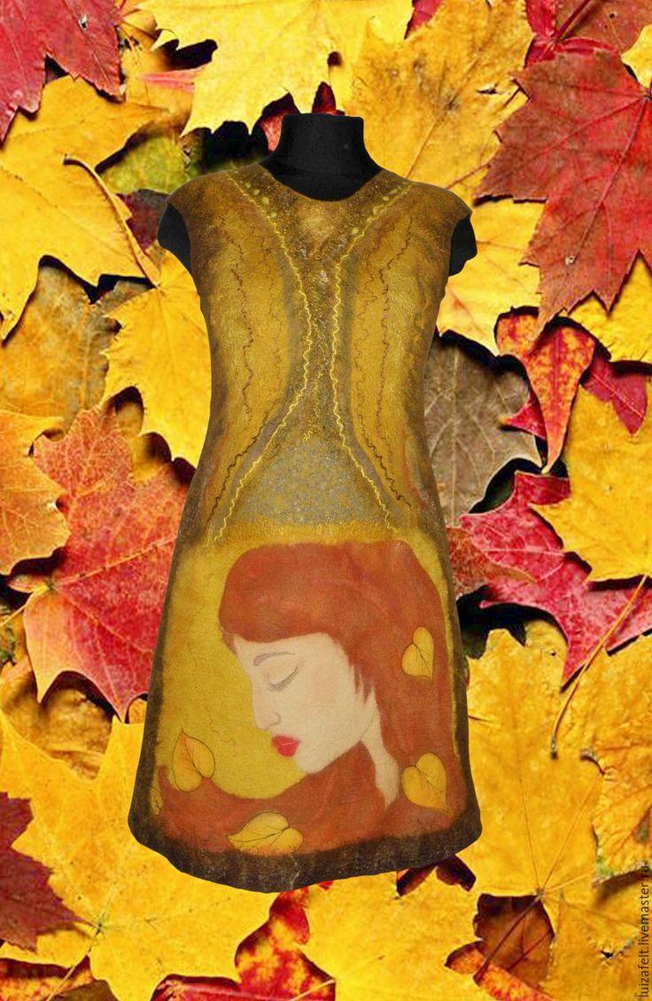 Купить Платье валяное Девушка Осень - осеннее платье, купить платье, коричневое платье, рыжий