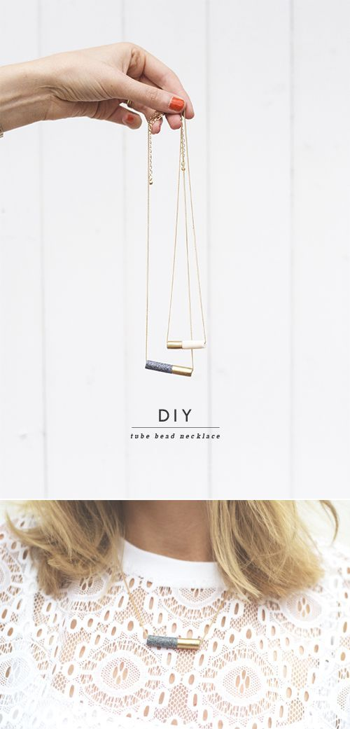 DIY tube bead necklaces