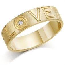 9ct Yellow Gold Gents 6mm Ring Engraved with `Love` and Set with 2pt Diamond