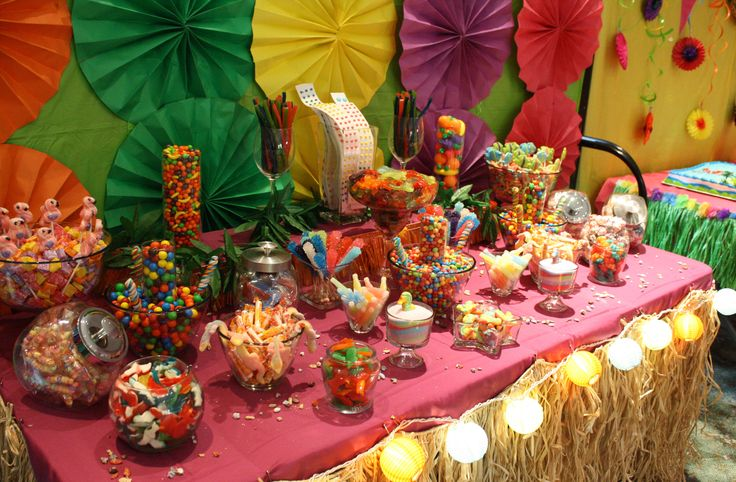 Luau Tropical Candy Buffet Bar Hawaiian