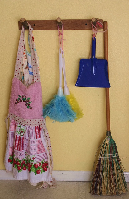 I love the idea that all the cleaning items are in one spot. Practically in our house is another matter! Can set up an area in the cleaning cupboard to store cleaning items and have pegs for aprons etc? This would clearly define work areas.