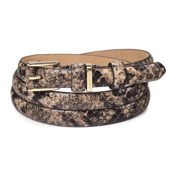 Aspinal of London Ladies Skinny Westbourne Belt In Tan Snake ($115) ❤ liked on Polyvore featuring accessories, belts, gold, snake belt, leather buckle belt, tan leather belt, genuine leather belt and 100 leather belt