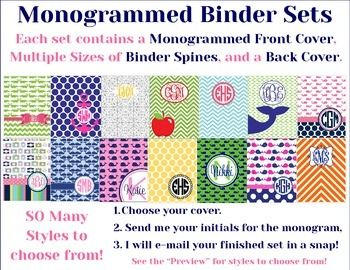 Turn your plain three-ring binders from drab to FAB with these printable binder cover sets!   The set includes:  One Monogrammed Front Cover, three sizes and two styles of matching Binder Spines, and one matching Back Cover.  These will fit a 1 inch binder, 1.5 inch binder, and 2 inch binder.
