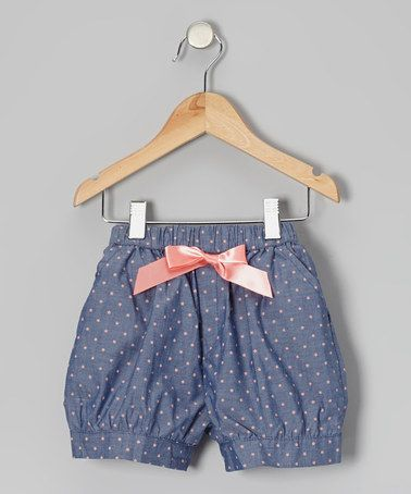 Blue & Pink Polka Dot Bow Shorts - Toddler & Girls by Funkyberry on #zulily