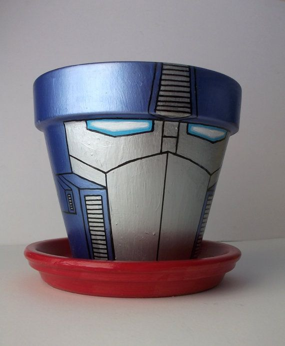 New and improved! Transformers Optimus Prime Painted Flower Pot Retro 80s G4 Cartoon Style