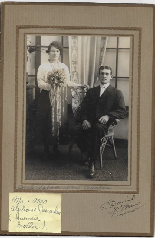 """This Cabinet Card Photo States: Mr. and Mrs. Alphonse Desrocher.  Per Member Julie Prentis Watts Possibly French Canadian. It says """"et Mme."""" (French for """"and Mrs."""") It also looks like name before Alphonse Desrochers in the writing directly under the photo begins with O... perhaps Orville or Ovide. I can't make out the name before brother in the yellow note.  Per Member Erin Bradshaw Looks like photographer is C. David, St.Henri (Montreal, Quebec)."""
