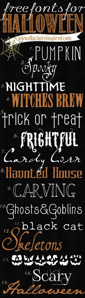 15 fabulous free Halloween Fonts with links to download! Perfect for Halloween Crafting, Projects, and Party Decor! #free #halloween #fonts