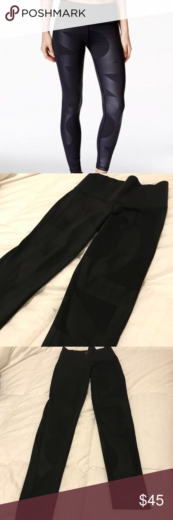 "EUC Adidas Climalite Leggings, Black Geometric EUC Adidas Climalite Leggings. Black on black with semi shiny large geometric design. Moisture wicking fabric. Thick waistband. Measurements when laying flat: waist 12.25"", rise 9"", inseam 25"". They show no signs of wear other than fading of the label printed inside. I have an allergy sensitivity to Lycra and elastic and these make my legs itch so I'm selling. The tag is cut out (due to itching). They have been worn less than 10 times. adidas…"