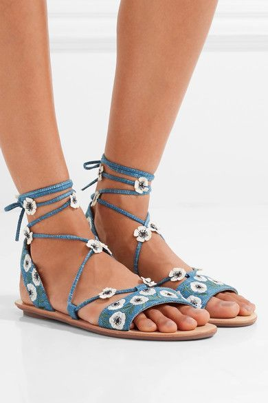 Heel measures approximately 10mm/ 0.5 inches Blue denim, sand leather Ties at ankle Imported