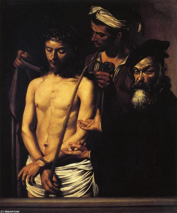 Ecce Homo, Oil On Canvas by Caravaggio (Michelangelo Merisi) (1571-1610, Italy) #OilOnCanvas #men #Caravaggio