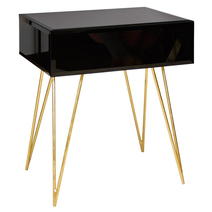 Worlds Away Debra Black Glass Side Table