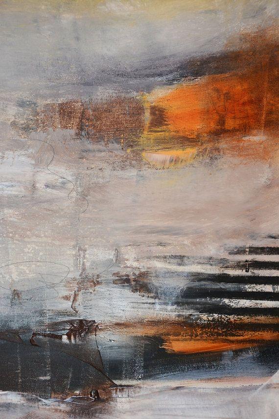 Большой Абстрактная живопись 48x48Neutral ColorsBlack по Андрадой