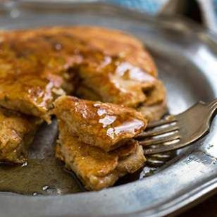 Gingerbread Pancakes by eatingwell: This healthy whole-grain pancake recipe uses 100% whole-wheat flour, pumpkin pie spice, applesauce and molasses for the unmistakable gingerbread flavor. #Pancakes #Gingerbread #Healthy