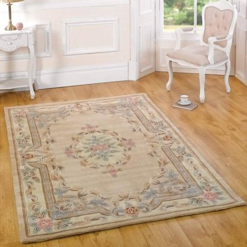 French style rug Aubusson classic fawn under £39 | Land of Rugs