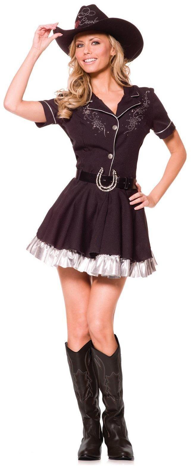 Women's Rhinestone Cowgirl Adult Costume - Black - Large for Halloween Price: $32.14