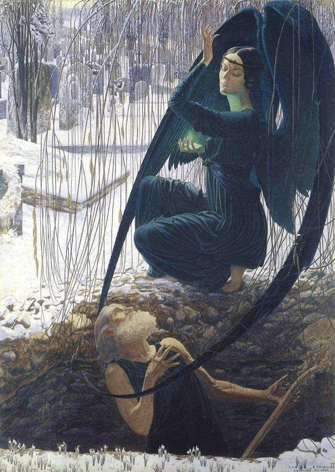 Carlos Schwabe. La Morte e il becchino, 1895, Musée d'Orsay, Parigi.