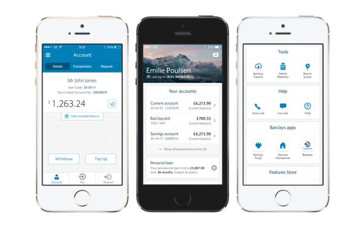 Barclays Mobile Banking App, with Direct Call shown in the right hand picture.