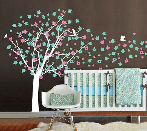 cute family birds Nursery Cherry Blossom flower Tree