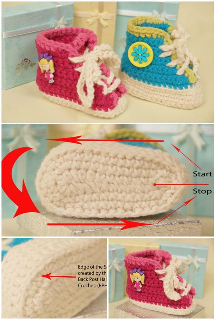 Super Soft Crochet Baby Sneakers - Top 40 Free Crochet Baby Booties Patterns