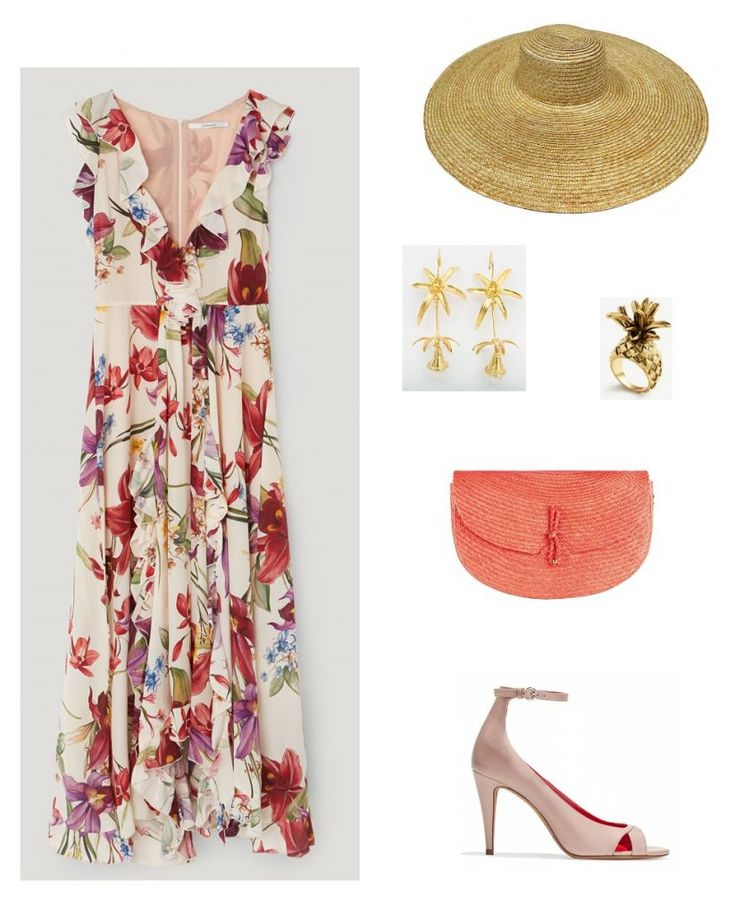 Time for Fashion » Uterqüe Wedding Guest Style. Floral ruffle midi dress+blush ankle strap peep-toed pumps+cural raffia clutch+straw sun hat+gold earrings+gold pinaple ring. Summer Day Semi Formal Event or Morning Wedding Guest Outfit 2017