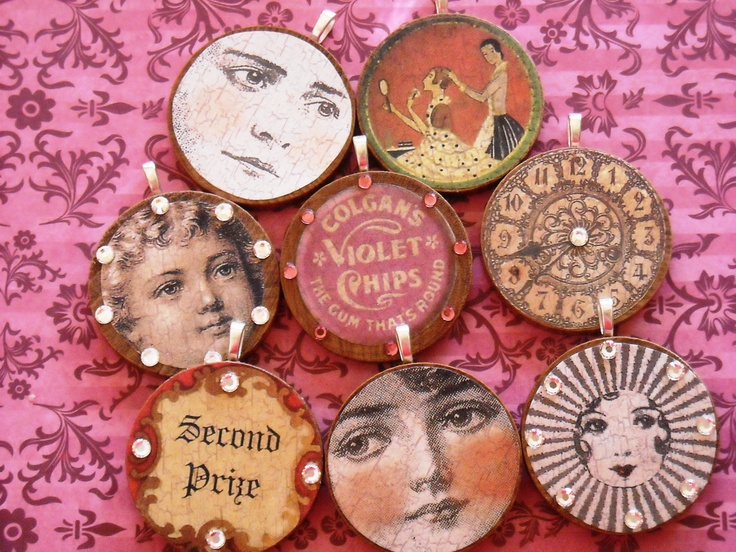"""I made these out of wooden circles, silver bails and vintage images from """"Fanciful Paper Projects"""" by Sandra Evertson!"""
