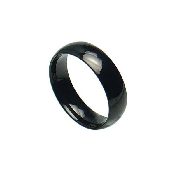 Stainless Steel Shiny Polished Black Plain Band Ring; Comes with Free... ❤ liked on Polyvore featuring jewelry, rings, asexual, black jet jewelry, black band ring, black ring, black stainless steel jewelry and polish rings