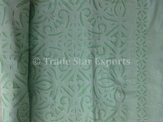Applique Work Cotton Bedspread, Hand Cutwork Queen Size Bedding, Mint Green Color, Organza Fabric, Handmade Bed Sheet