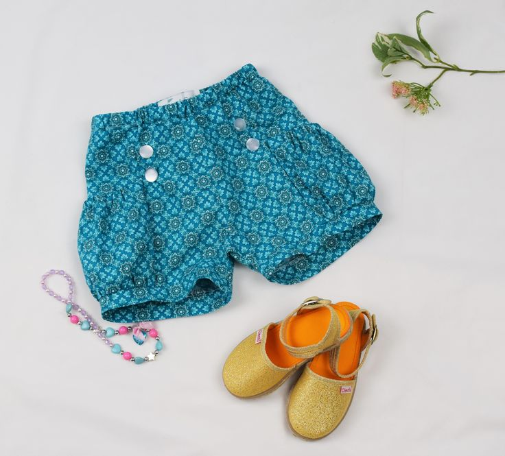 Girls floral blue shorts 100% cotton, handmade