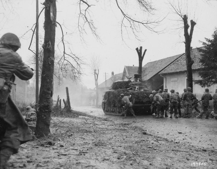 """5th French Armored Division Tank M4 """"Sherman"""",  with infantry during the battle for Belfort"""