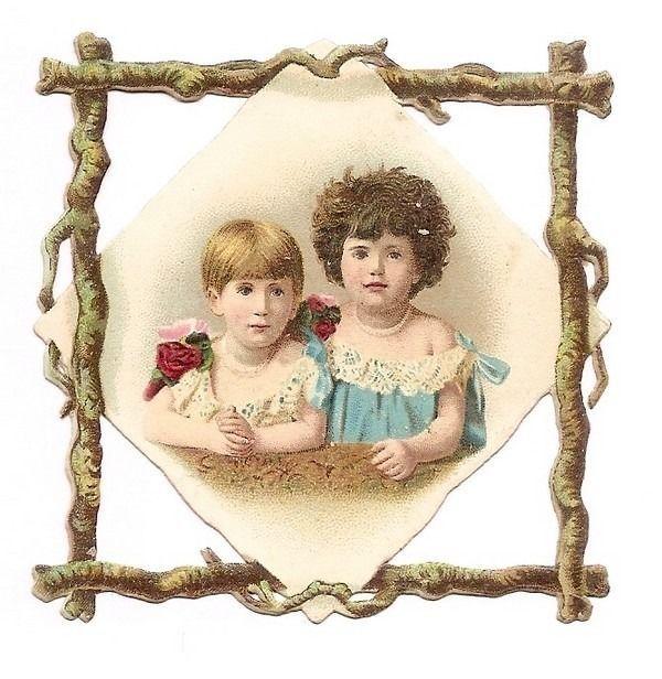 Les Deux Enfants - - Bustes  - - Chromo Decoupi  - Victorian Scrap