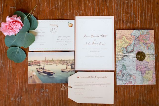 Vintage travel themed wedding invitations | Sarah Goodwin Photography | see  more on: http://burnettsboards.com/2014/06/vintage-travel-inspired-wedding/