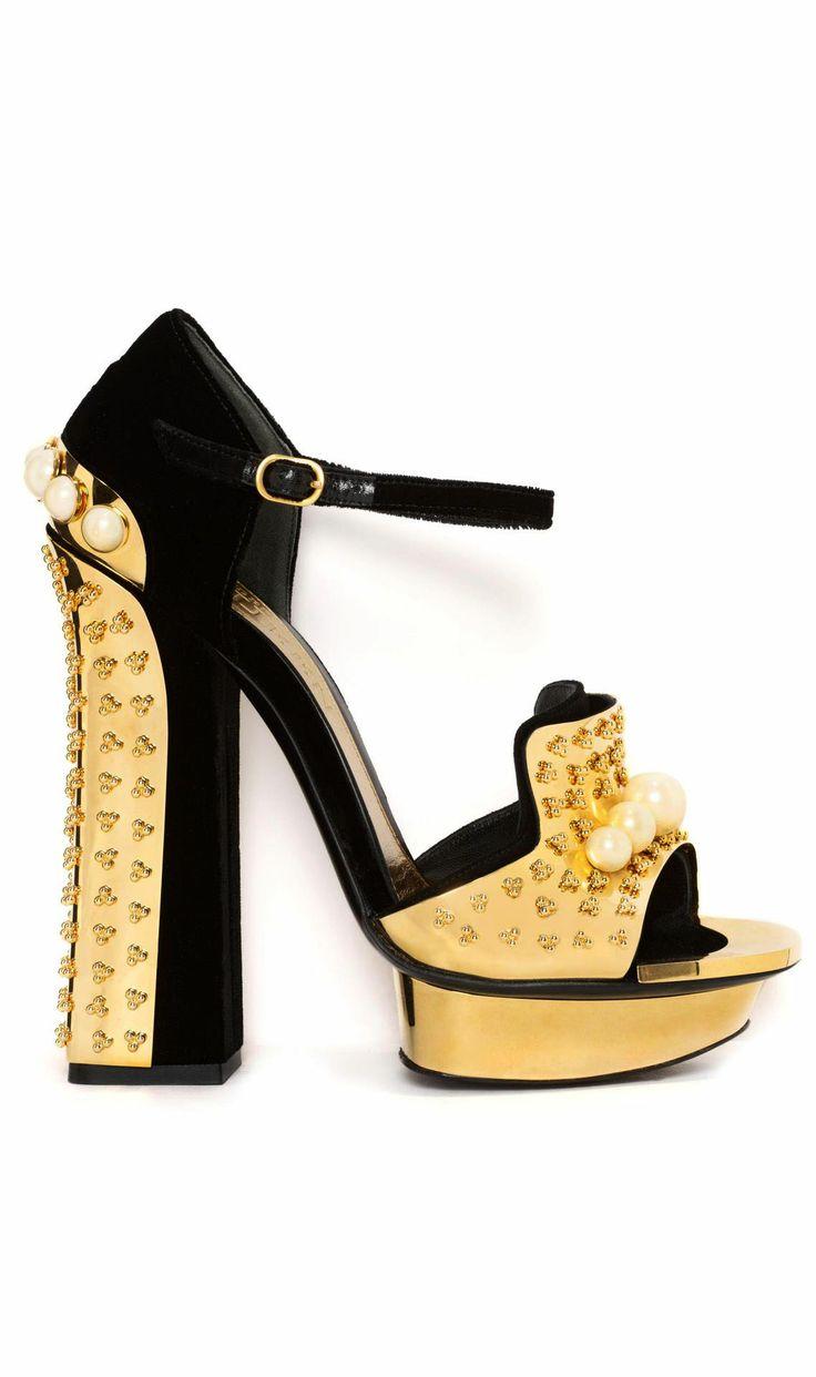 Alexander McQueen Pearl & Metal Block Heel Sandal