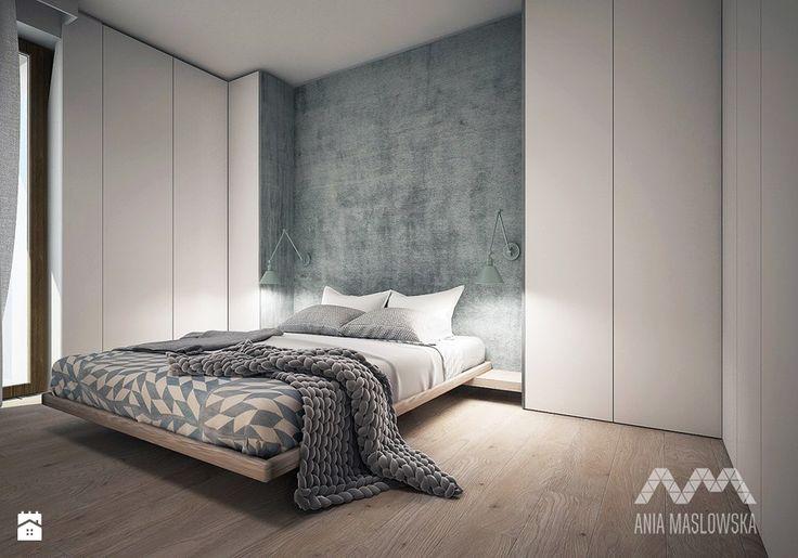 Wilanów - Średnia sypialnia małżeńska z balkonem / tarasem, styl skandynawski - zdjęcie od Ania Masłowska