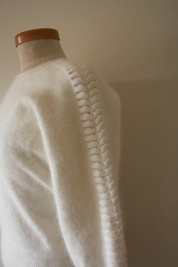 Vintage White Angora Sweater with Pearl Beaded by sarahjstephen