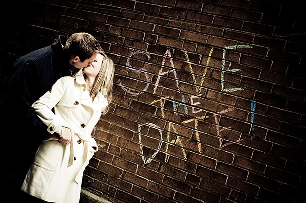 engagment photo with chalk