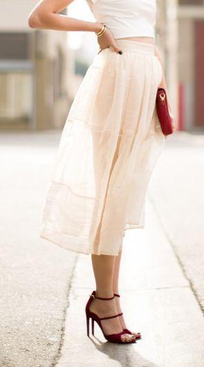 #me Peach sheer midi skirt...