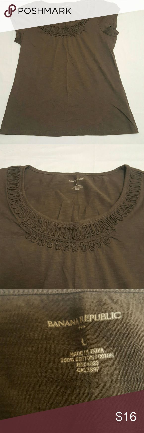 Banana Republic t-shirt Is a greyish color with almost-but-not-quite a greenish/brownish tint...Super cute. In nearly new condition Banana Republic Tops Tees - Short Sleeve