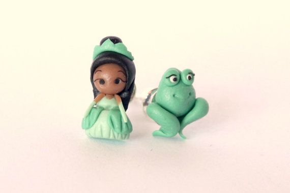 Princess Tiana and the frog, stud,magnetic or dangling earrings inspired. Tiana jewelry.  Disney jewelry. Clay. Disney jewels.