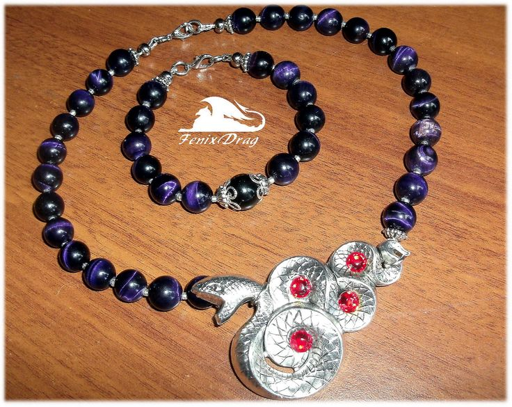 "Women's choker (necklace) and bracelet ""Anaconda"" snake, purple tiger's eye http://www.livemaster.com/fenixdrag fdrag.ru"