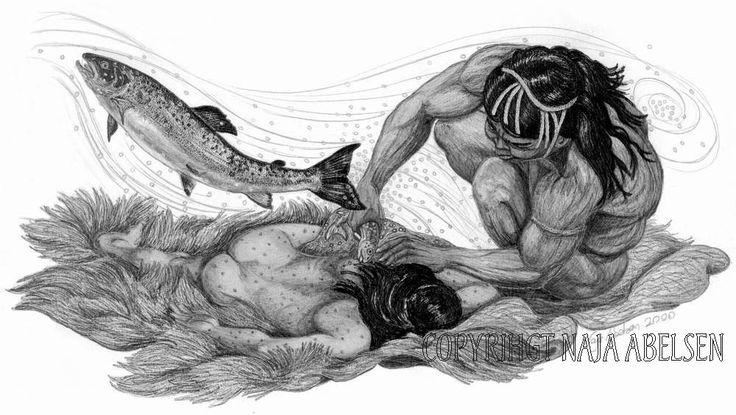 """The Salmon Amulet. Pencildrawing by Naja Abelsen. Illustration from """"Grønlandske Myter og sagn, Sesam publishing. 2000. Original for sale. Available as A3-photoprint 400 DKK / 54 Euro. GREENLAND MYTHOLOGY - www.123hjemmeside.dk/NajaAbelsen."""